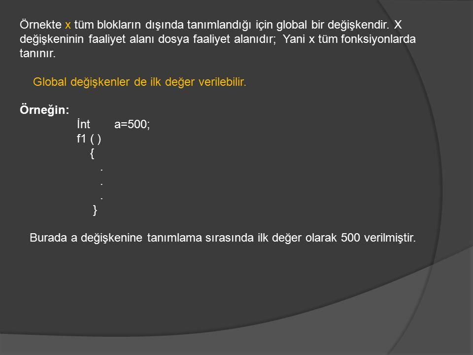 Örnekte x tüm blokların dışında tanımlandığı için global bir değişkendir. X değişkeninin faaliyet alanı dosya faaliyet alanıdır; Yani x tüm fonksiyonlarda tanınır.