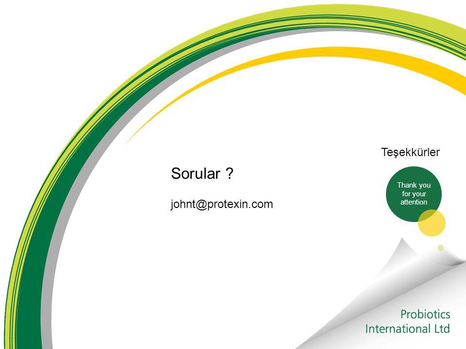 Teşekkürler Sorular johnt@protexin.com