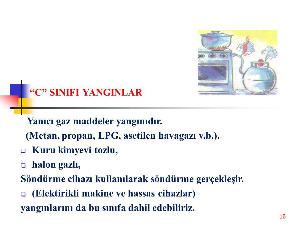 C SINIFI YANGINLAR Yanıcı gaz maddeler yangınıdır. (Metan, propan, LPG, asetilen havagazı v.b.).