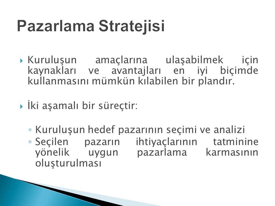 Pazarlama Stratejisi Kuruluşun amaçlarına ulaşabilmek için kaynakları ve avantajları en iyi biçimde kullanmasını mümkün kılabilen bir plandır.
