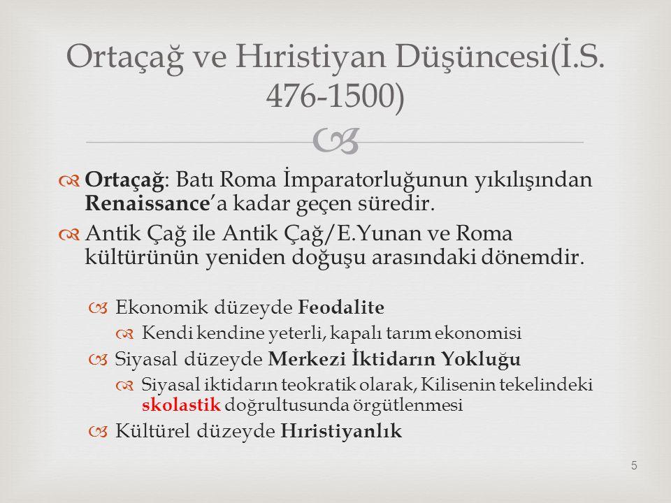 Ortaçağ ve Hıristiyan Düşüncesi(İ.S. 476-1500)