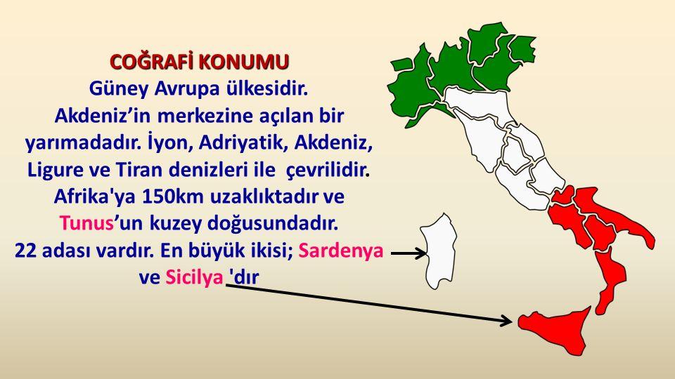 COĞRAFİ KONUMU Güney Avrupa ülkesidir.