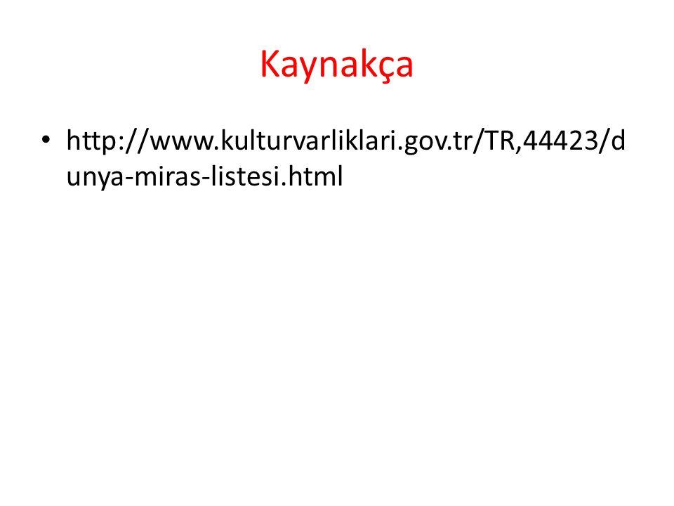 Kaynakça http://www.kulturvarliklari.gov.tr/TR,44423/dunya-miras-listesi.html