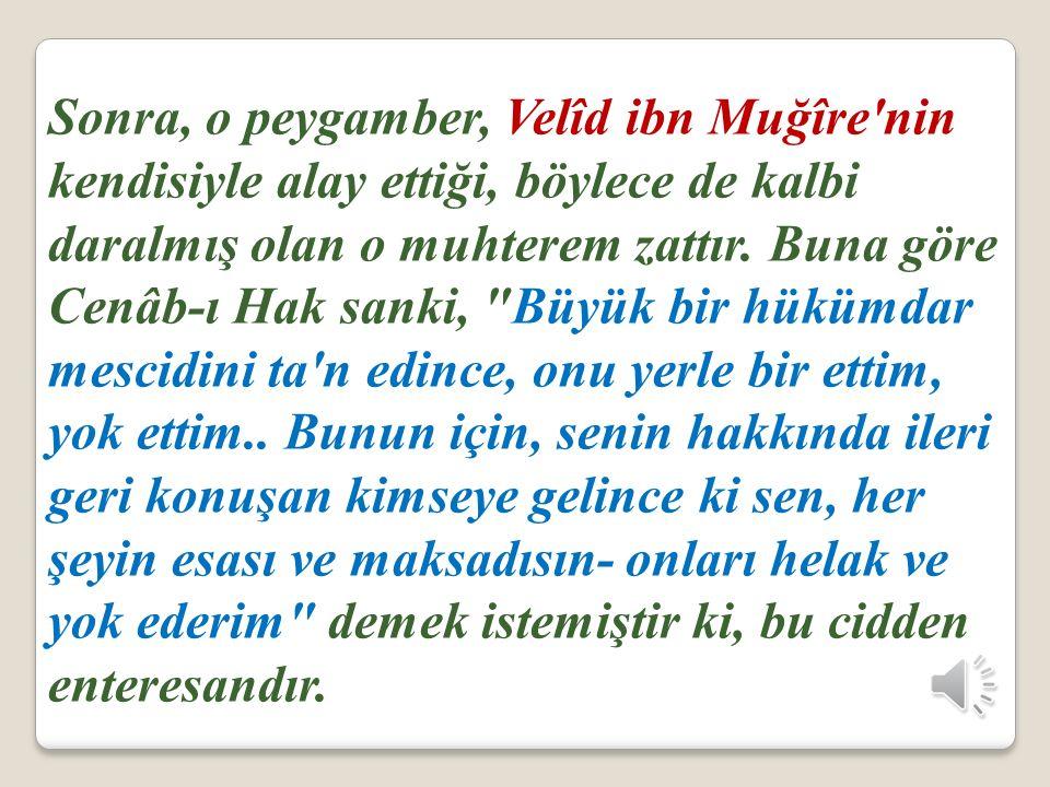 Sonra, o peygamber, Velîd ibn Muğîre nin kendisiyle alay ettiği, böylece de kalbi daralmış olan o muhterem zattır.