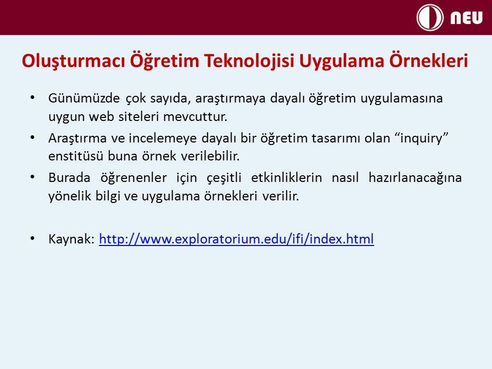 Oluşturmacı Öğretim Teknolojisi Uygulama Örnekleri