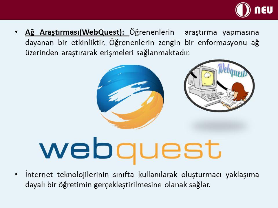 Ağ Araştırması(WebQuest): Öğrenenlerin araştırma yapmasına dayanan bir etkinliktir. Öğrenenlerin zengin bir enformasyonu ağ üzerinden araştırarak erişmeleri sağlanmaktadır.