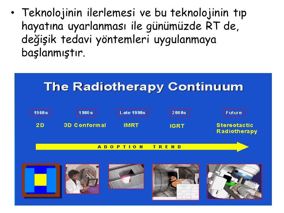 Teknolojinin ilerlemesi ve bu teknolojinin tıp hayatına uyarlanması ile günümüzde RT de, değişik tedavi yöntemleri uygulanmaya başlanmıştır.
