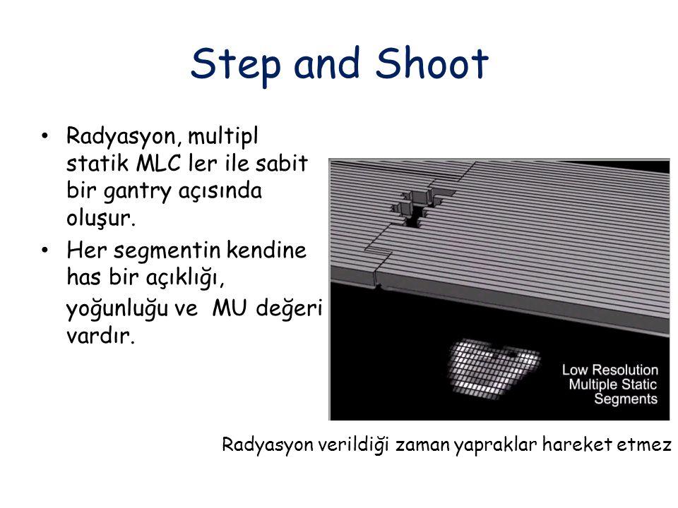 Step and Shoot Radyasyon, multipl statik MLC ler ile sabit bir gantry açısında oluşur.