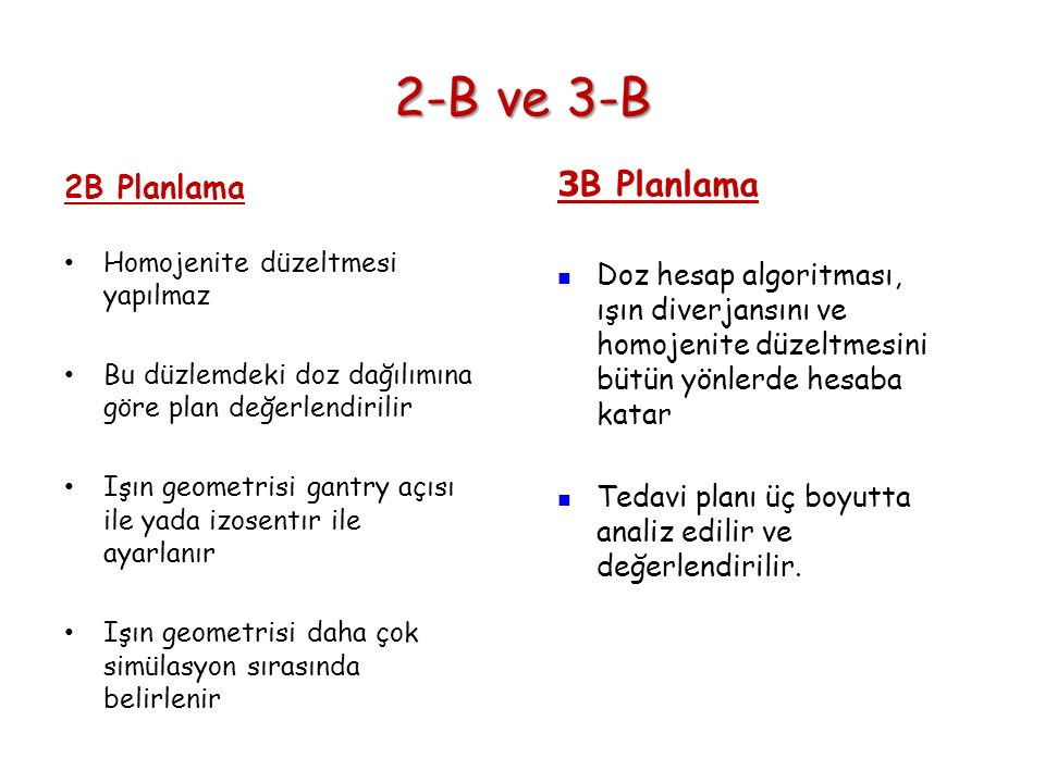 2-B ve 3-B 3B Planlama 2B Planlama