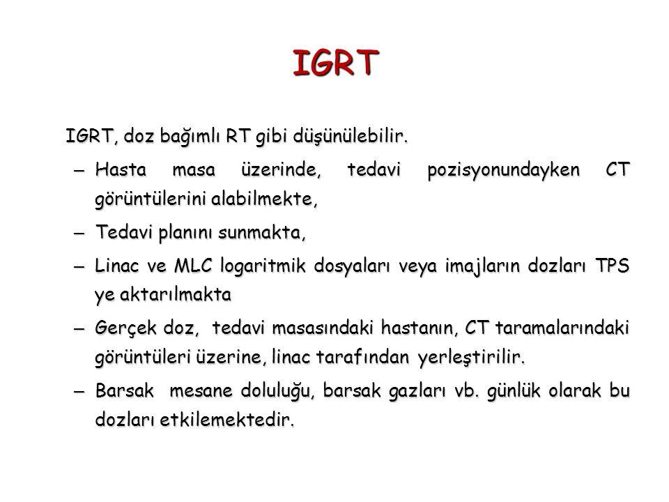 IGRT IGRT, doz bağımlı RT gibi düşünülebilir.