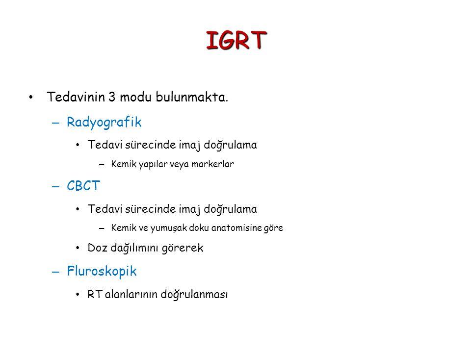 IGRT Tedavinin 3 modu bulunmakta. Radyografik CBCT Fluroskopik