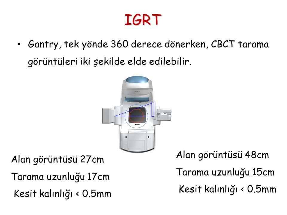 IGRT Gantry, tek yönde 360 derece dönerken, CBCT tarama görüntüleri iki şekilde elde edilebilir. Alan görüntüsü 48cm.
