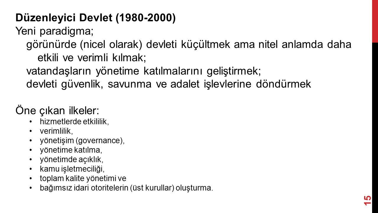 Düzenleyici Devlet (1980-2000) Yeni paradigma;