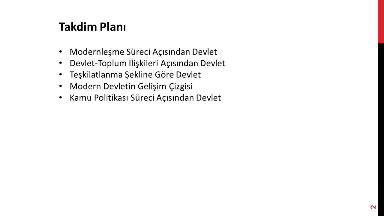 Takdim Planı Modernleşme Süreci Açısından Devlet
