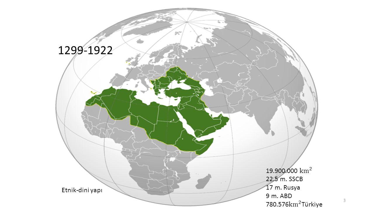 1299-1922 19.900.000 km 2. 22.5 m. SSCB. 17 m. Rusya. 9 m. ABD. 780.576 km 2 Türkiye. Etnik-dini yapı.