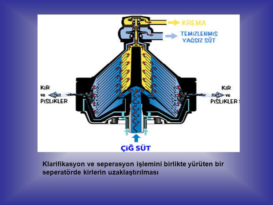 Klarifikasyon ve seperasyon işlemini birlikte yürüten bir seperatörde kirlerin uzaklaştırılması