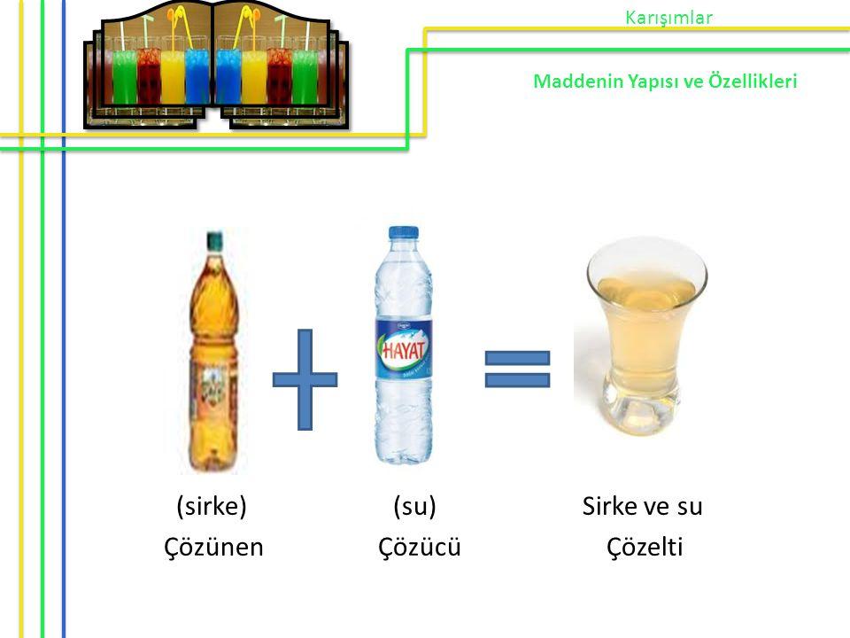 (sirke) (su) Sirke ve su Çözünen Çözücü Çözelti