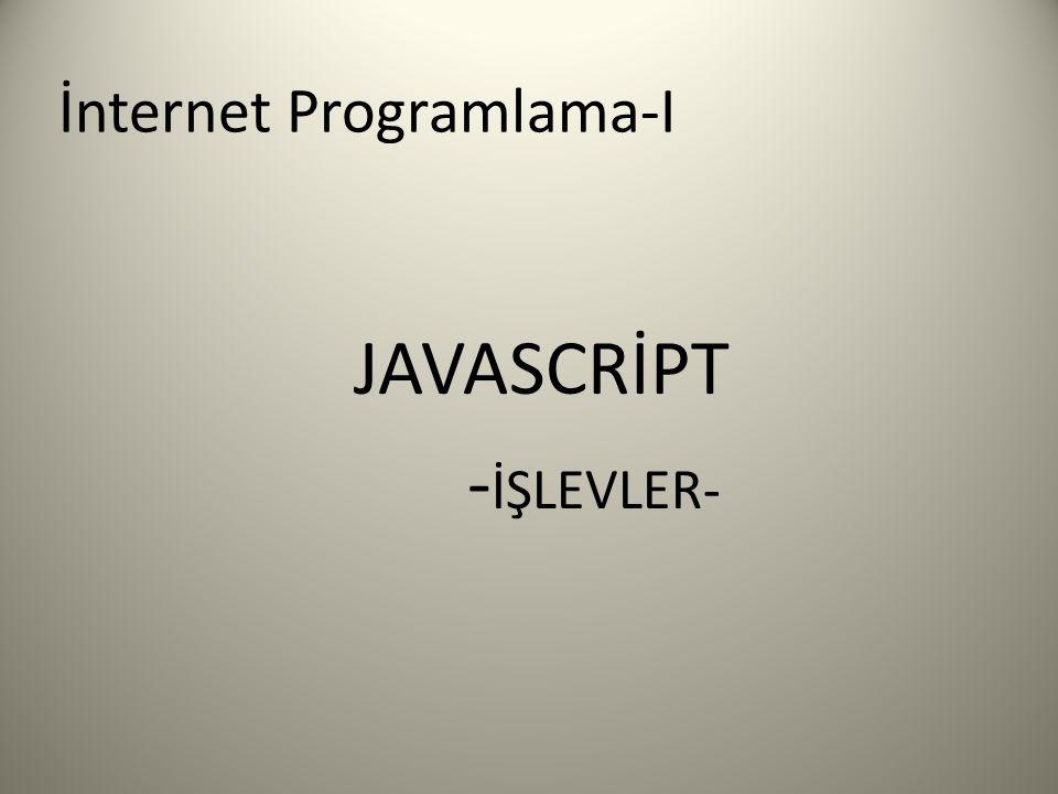 İnternet Programlama-I