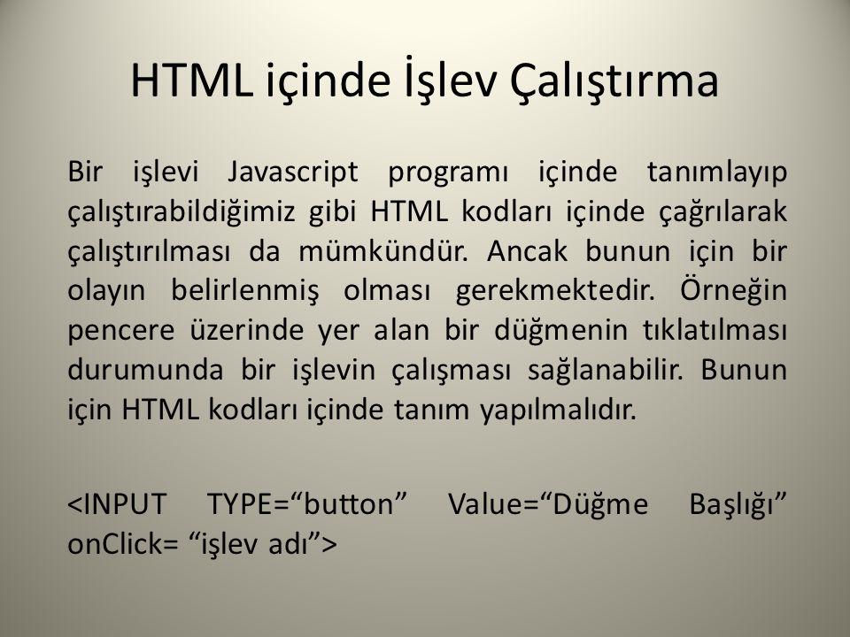 HTML içinde İşlev Çalıştırma