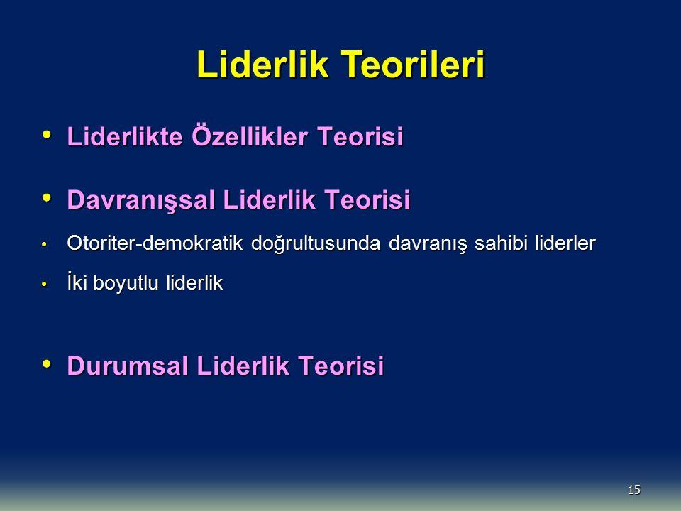 Liderlik Teorileri Liderlikte Özellikler Teorisi