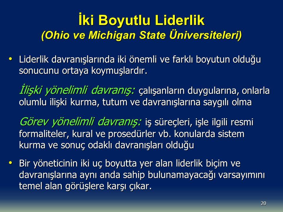 İki Boyutlu Liderlik (Ohio ve Michigan State Üniversiteleri)