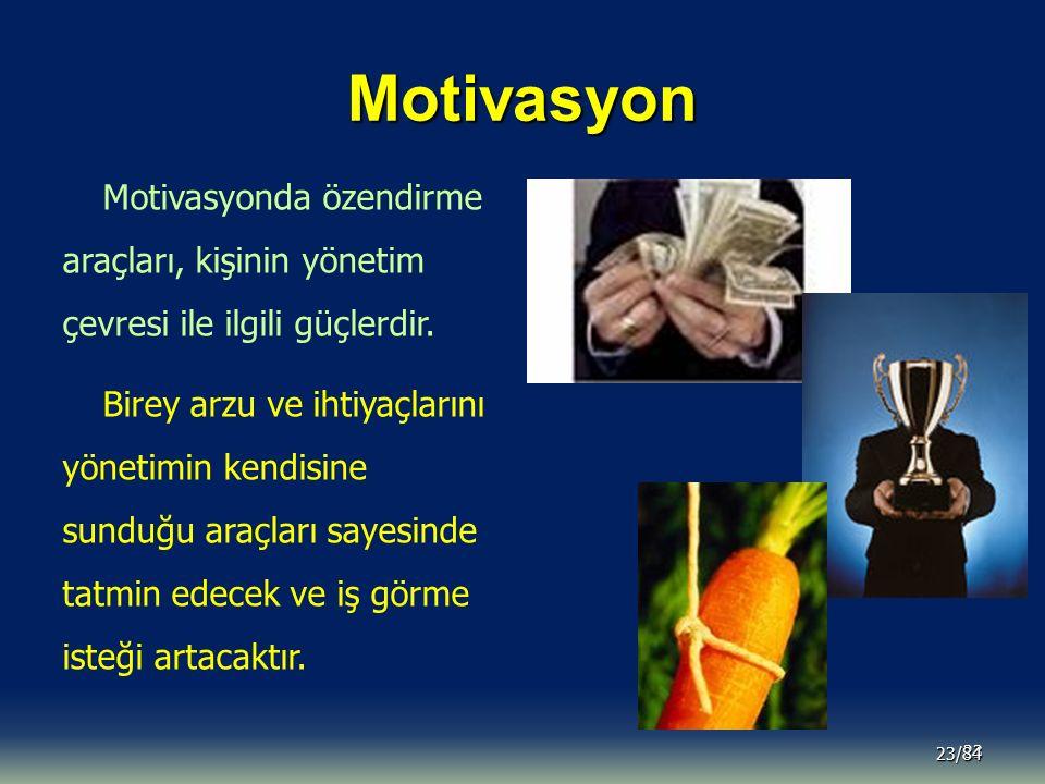 Motivasyon Motivasyonda özendirme araçları, kişinin yönetim çevresi ile ilgili güçlerdir.