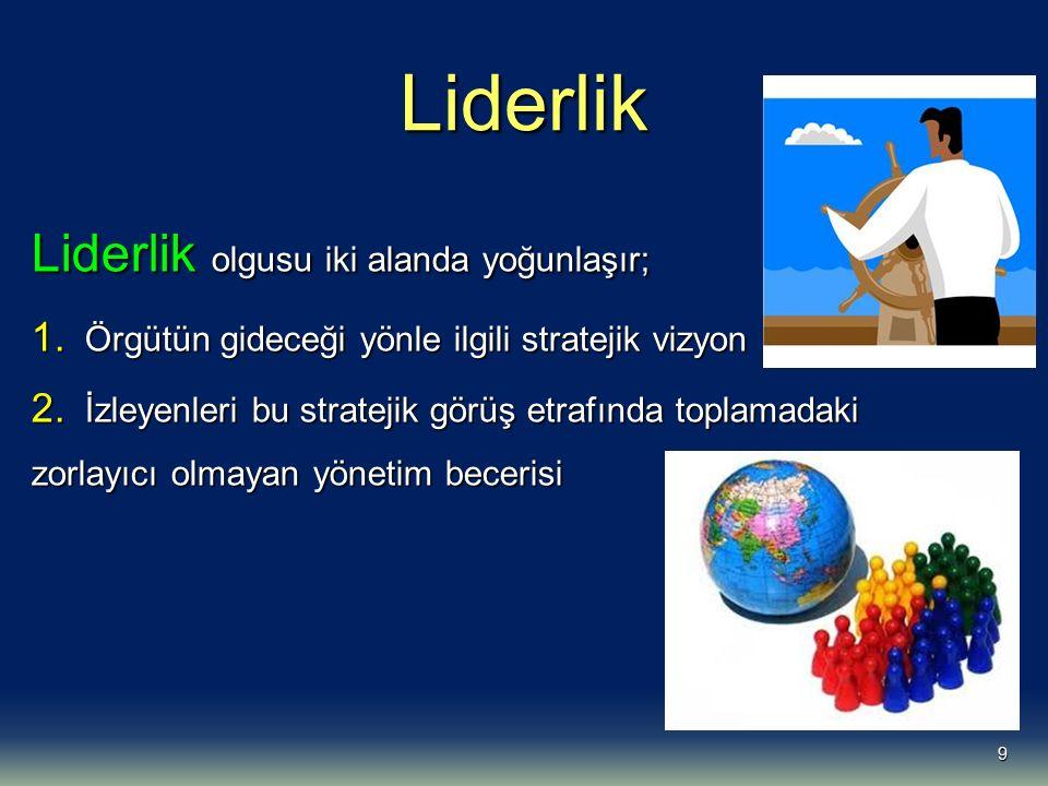 Liderlik Liderlik olgusu iki alanda yoğunlaşır;