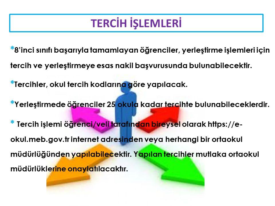TERCİH İŞLEMLERİ