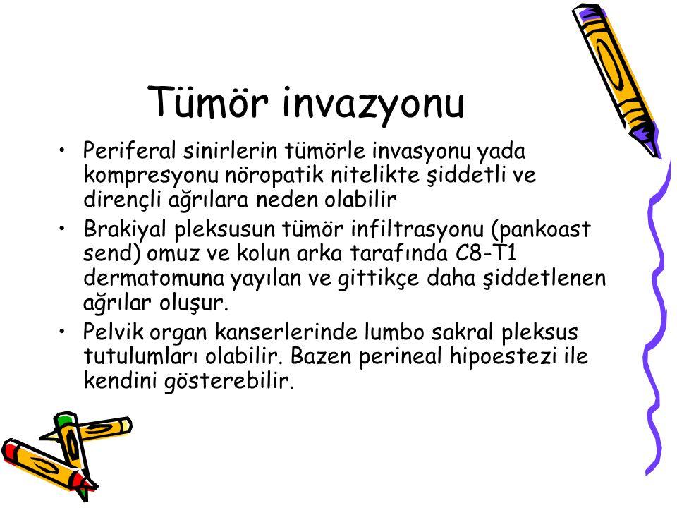 Tümör invazyonu Periferal sinirlerin tümörle invasyonu yada kompresyonu nöropatik nitelikte şiddetli ve dirençli ağrılara neden olabilir.