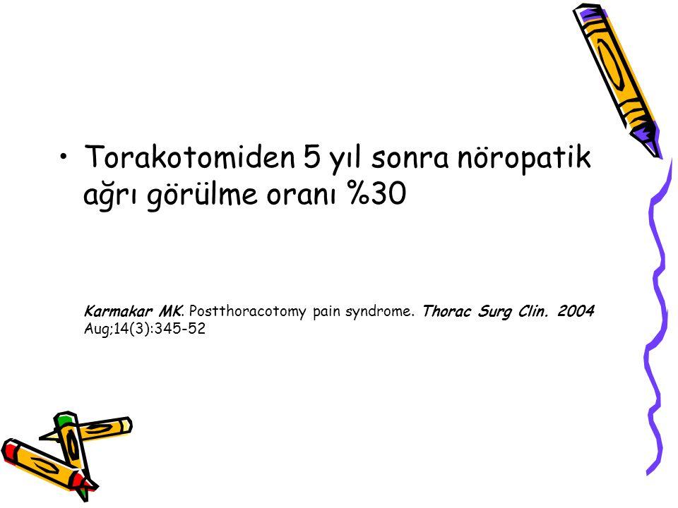 Torakotomiden 5 yıl sonra nöropatik ağrı görülme oranı %30
