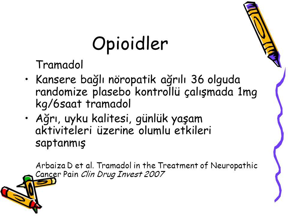 Opioidler Tramadol. Kansere bağlı nöropatik ağrılı 36 olguda randomize plasebo kontrollü çalışmada 1mg kg/6saat tramadol.