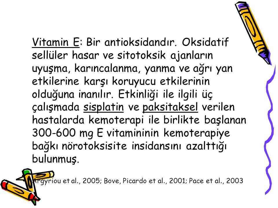 Vitamin E: Bir antioksidandır