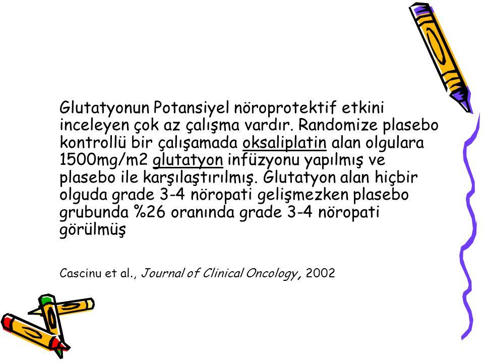 Glutatyonun Potansiyel nöroprotektif etkini inceleyen çok az çalışma vardır. Randomize plasebo kontrollü bir çalışamada oksaliplatin alan olgulara 1500mg/m2 glutatyon infüzyonu yapılmış ve plasebo ile karşılaştırılmış. Glutatyon alan hiçbir olguda grade 3-4 nöropati gelişmezken plasebo grubunda %26 oranında grade 3-4 nöropati görülmüş