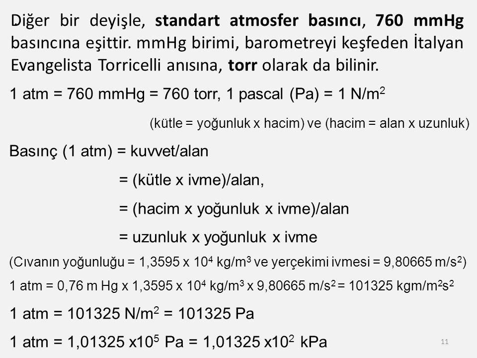 Diğer bir deyişle, standart atmosfer basıncı, 760 mmHg basıncına eşittir. mmHg birimi, barometreyi keşfeden İtalyan Evangelista Torricelli anısına, torr olarak da bilinir.