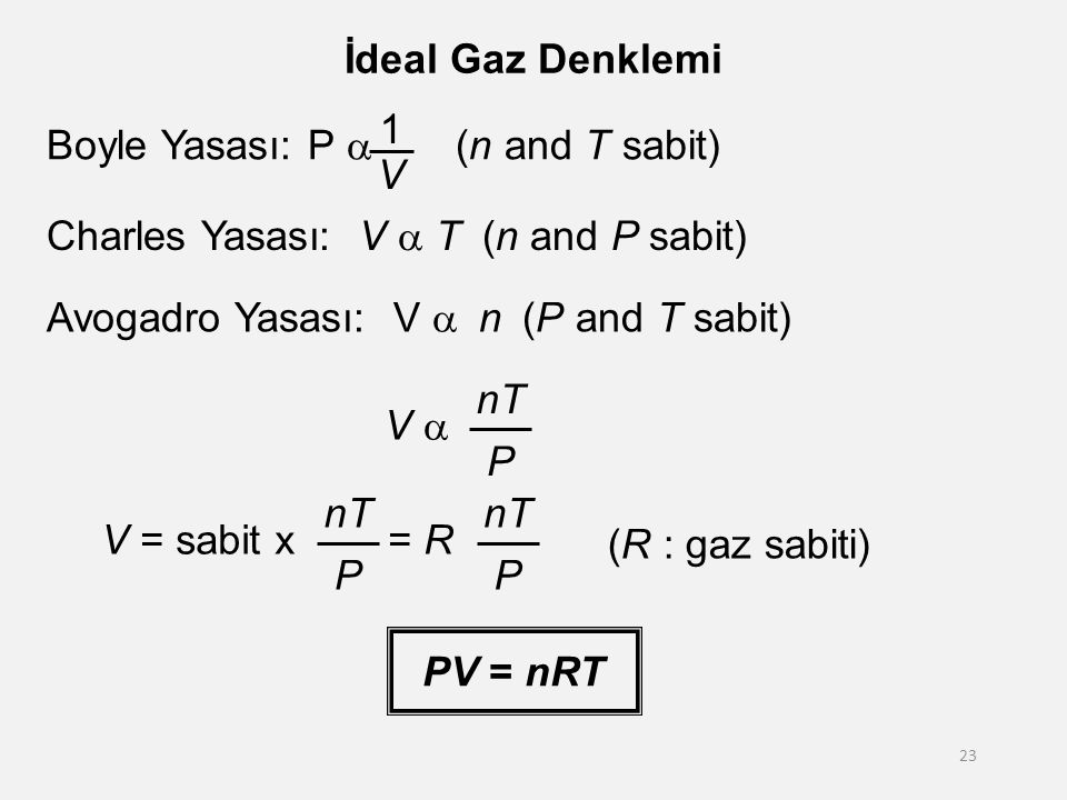Boyle Yasası: P a (n and T sabit) 1 V