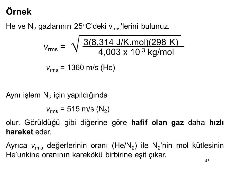 Örnek 3(8,314 J/K.mol)(298 K) vrms = 4,003 x 10-3 kg/mol