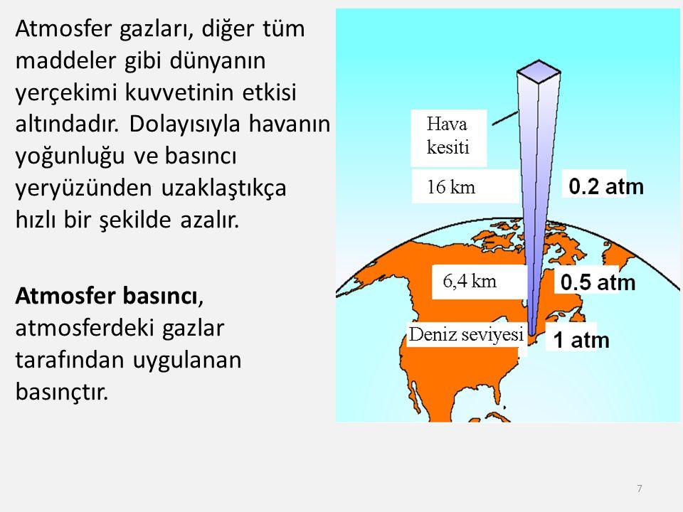 Atmosfer gazları, diğer tüm maddeler gibi dünyanın yerçekimi kuvvetinin etkisi altındadır.