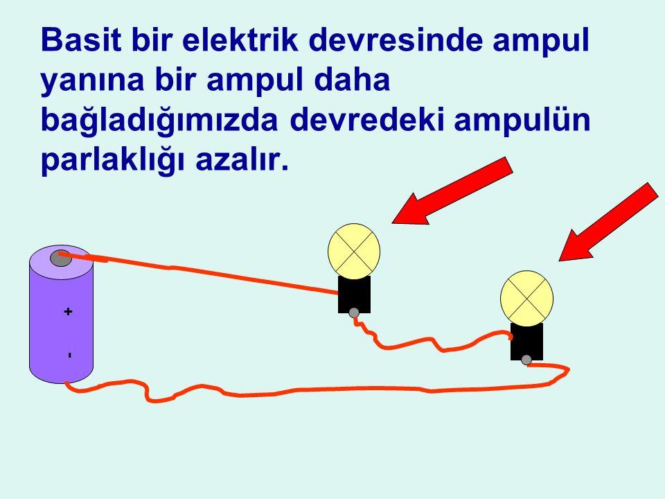 Basit bir elektrik devresinde ampul yanına bir ampul daha bağladığımızda devredeki ampulün parlaklığı azalır.