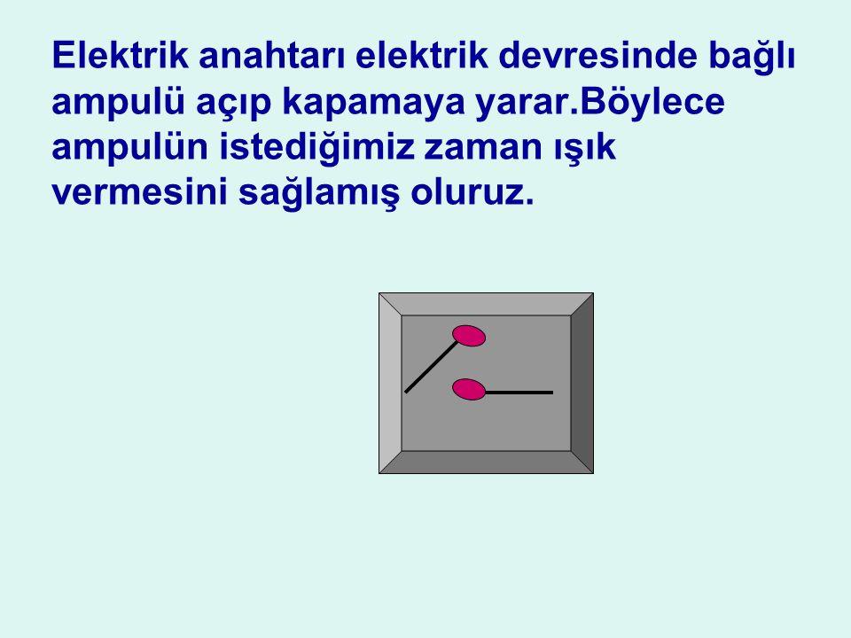 Elektrik anahtarı elektrik devresinde bağlı ampulü açıp kapamaya yarar
