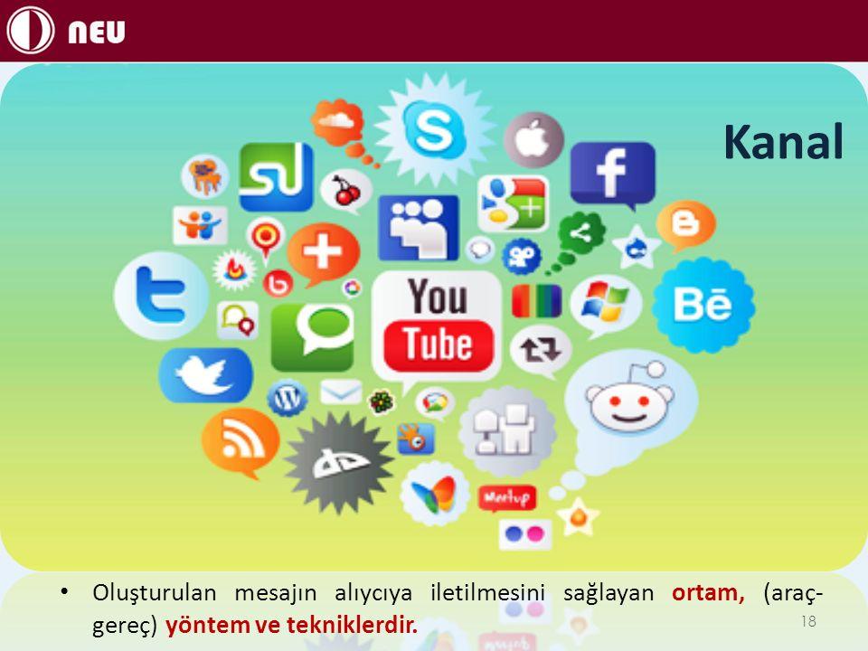 Kanal Oluşturulan mesajın alıycıya iletilmesini sağlayan ortam, (araç-gereç) yöntem ve tekniklerdir.