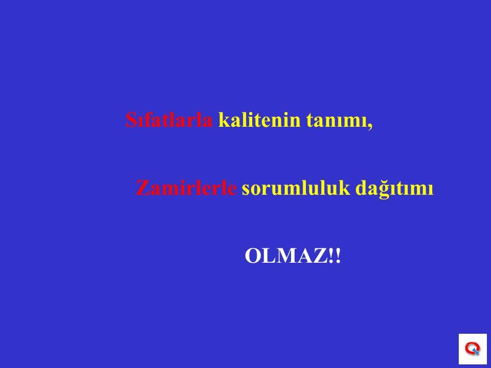 Sıfatlarla kalitenin tanımı, Zamirlerle sorumluluk dağıtımı OLMAZ!!