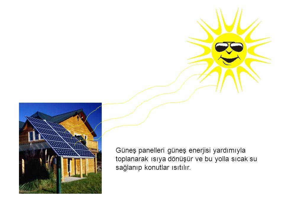 Güneş panelleri güneş enerjisi yardımıyla toplanarak ısıya dönüşür ve bu yolla sıcak su sağlanıp konutlar ısıtılır.