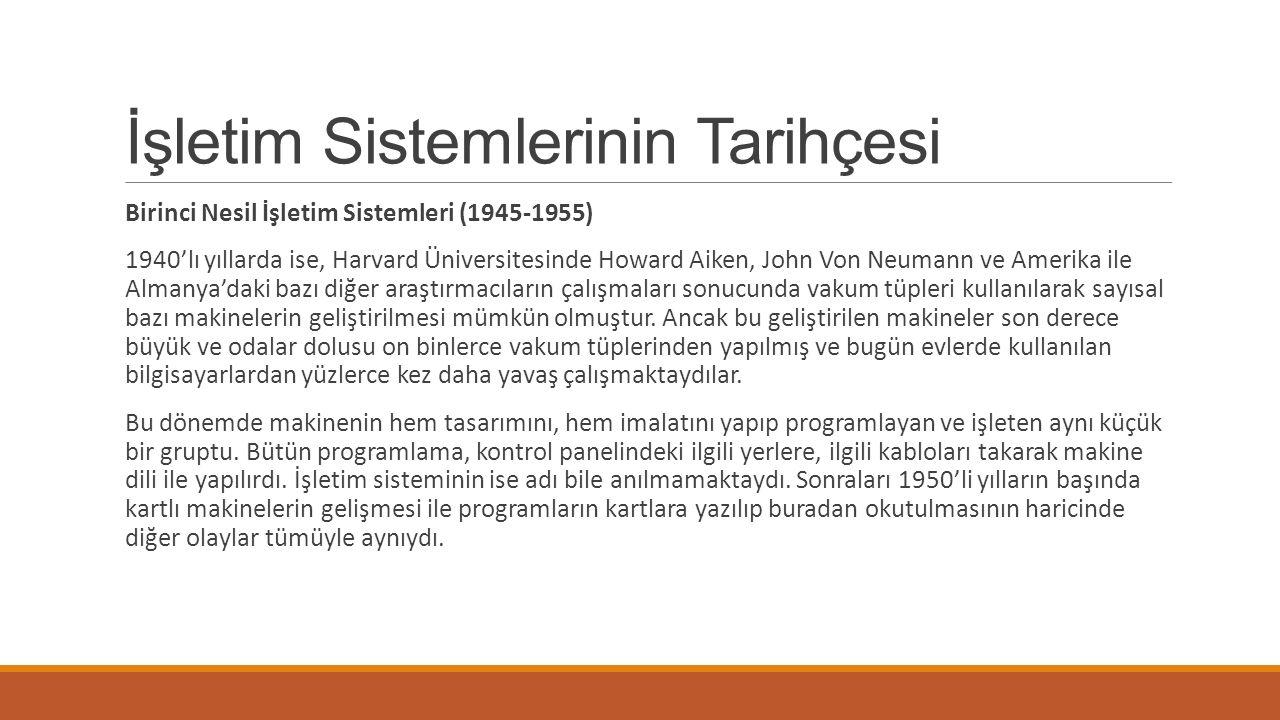 İşletim Sistemlerinin Tarihçesi