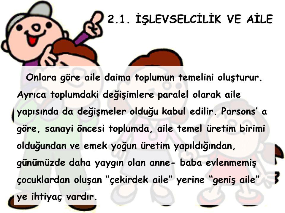 2.1. İŞLEVSELCİLİK VE AİLE