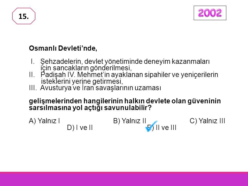 2002 15. Osmanlı Devleti'nde, I. Şehzadelerin, devlet yönetiminde deneyim kazanmaları için sancakların gönderilmesi,