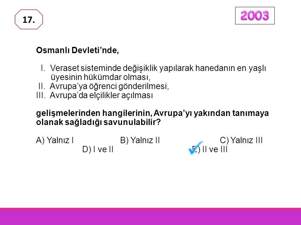 2003 17. Osmanlı Devleti'nde, I. Veraset sisteminde değişiklik yapılarak hanedanın en yaşlı üyesinin hükümdar olması,