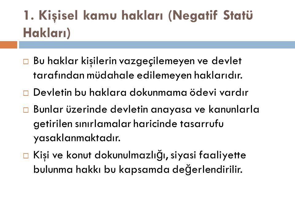 1. Kişisel kamu hakları (Negatif Statü Hakları)