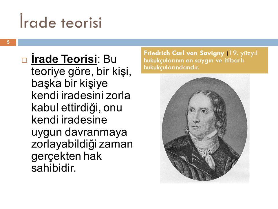 İrade teorisi Friedrich Carl von Savigny (19. yüzyıl hukukçularının en saygın ve itibarlı hukukçularındandır.