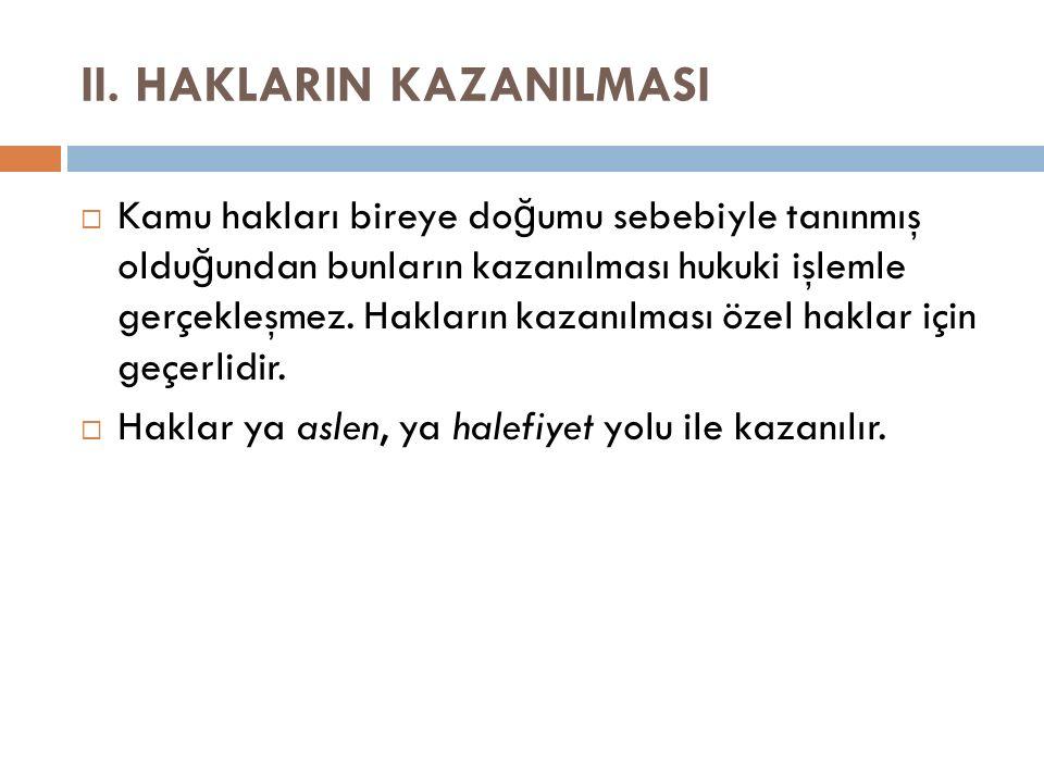 II. HAKLARIN KAZANILMASI