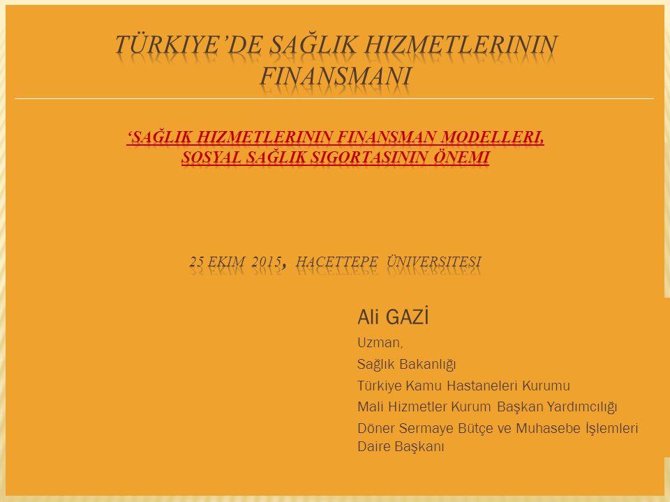 Türkiye'de Sağlik Hizmetlerinin FinansmanI 'SağlIk hizmetlerinin finansman modelleri, sosyal sağlIk sigortasInIn önemi 25 Ekim 2015, Hacettepe Üniversitesi